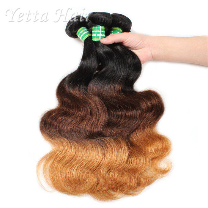 Three Tone Natural European Remy Hair Extensions Double Drawn Weft