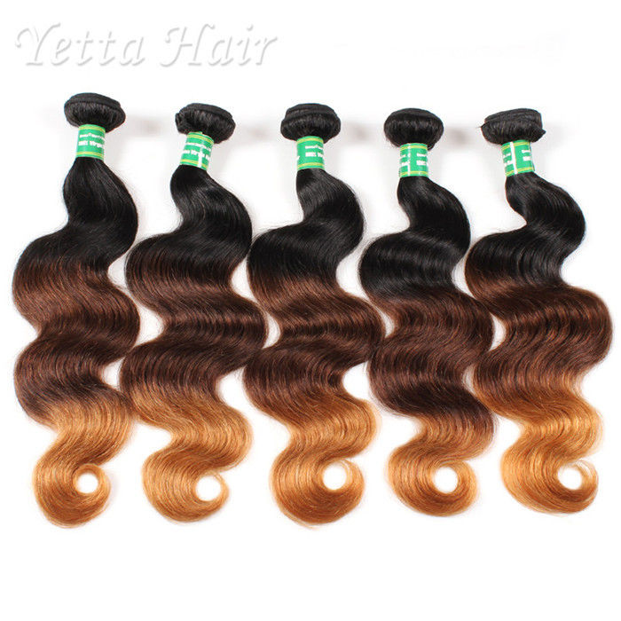 Real Indian 7A  Virgin Hair Weave / Three Tone  Hair Extensions Without Chemical